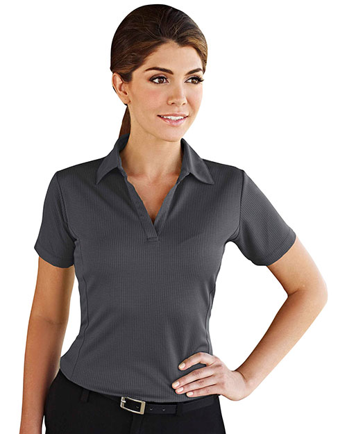 Tri-Mountain 401TM Womens 100% Polyester Knit Polo Shirt, w/ Grid Pattern and Princess Seam. CHARCOAL at bigntallapparel