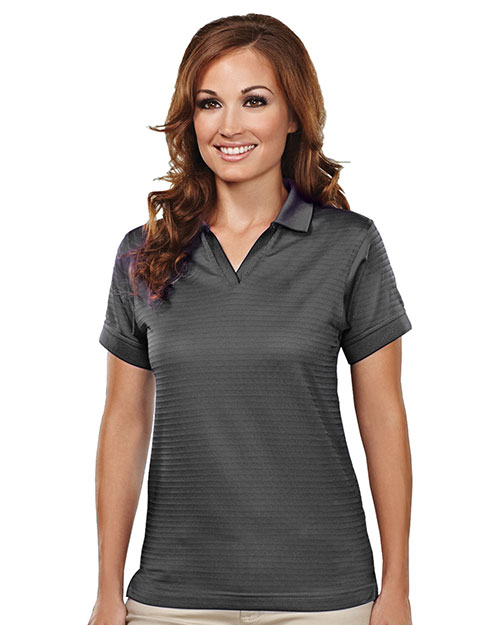 Tri-Mountain 402TM Womens poly UltraCool basket knit johnny collar golf shirt. CHARCOAL at bigntallapparel