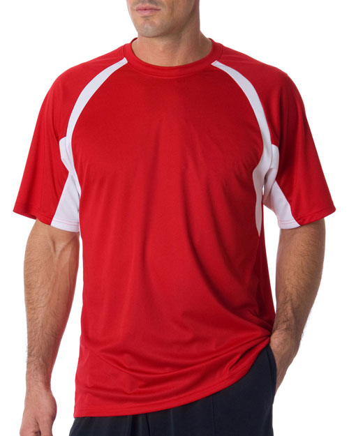 Badger 4144     Adult B-Core Short-Sleeve Two-Tone Performance Hook Tee  Red/ White at bigntallapparel