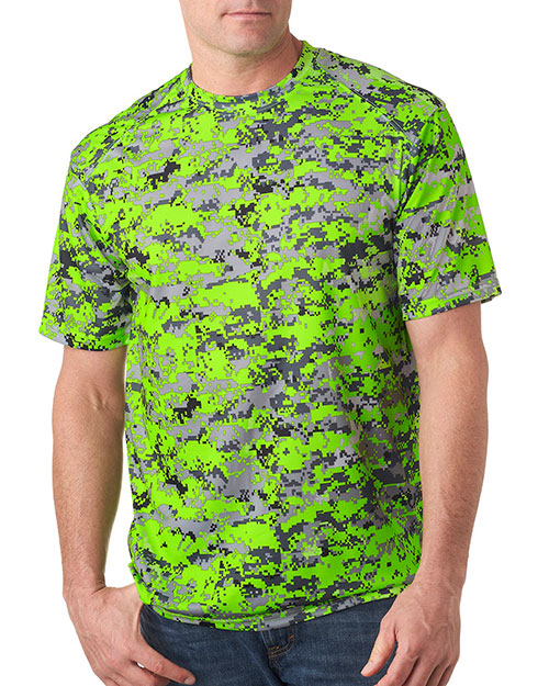 Badger 4180 Men Bcore Digital Camo Tee Lime Digital at bigntallapparel