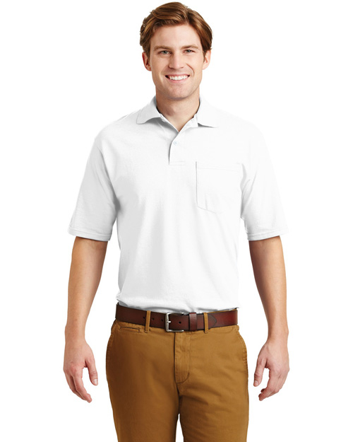 Jerzees 436MP Men Spotshield Jersey Knit Sport Shirt With Pocket White at bigntallapparel