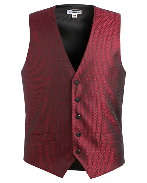 Edwards 4390 MEN'S DIAMOND BROCADE VEST BURGUNDY at bigntallapparel