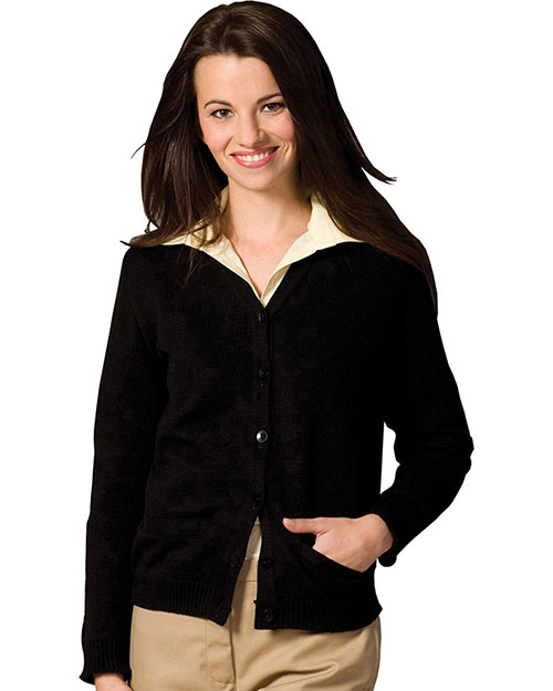 Edwards 450ED WOMEN'S V-NECK POCKET CARDIGAN W/TUFF-PIL? PLUS BLACK at bigntallapparel