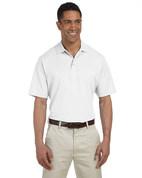 Ashworth 4570 Men's High Twist Cotton Tech Polo WHITE at bigntallapparel
