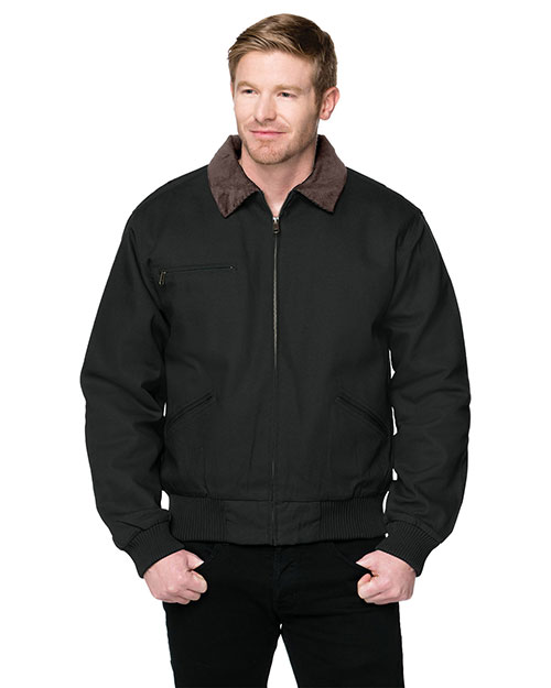 Tri-Mountain 4700 Big and Tall Mens  Canvas Work Jacket With Removable Wool Liner BLACK at bigntallapparel