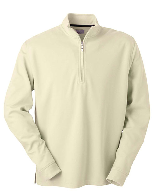 Ashworth 4747C Men's Micro Brushed Half-Zip Jacket STONE at bigntallapparel