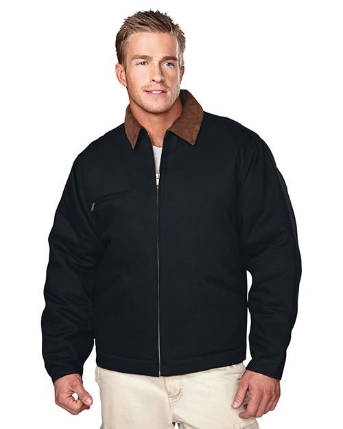 Tri-Mountain 4800 Mens Canvas Work Jacket with Quilted Lining Black/Brown/Black at bigntallapparel
