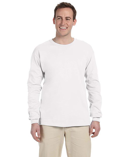 Fruit of the Loom 4930 5.4 oz. Heavy Cotton Long-Sleeve T-Shirt WHITE at bigntallapparel