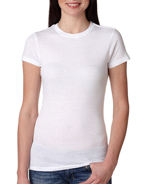 Bayside 4990     Ladies' Fashion Jersey Tee  White at bigntallapparel