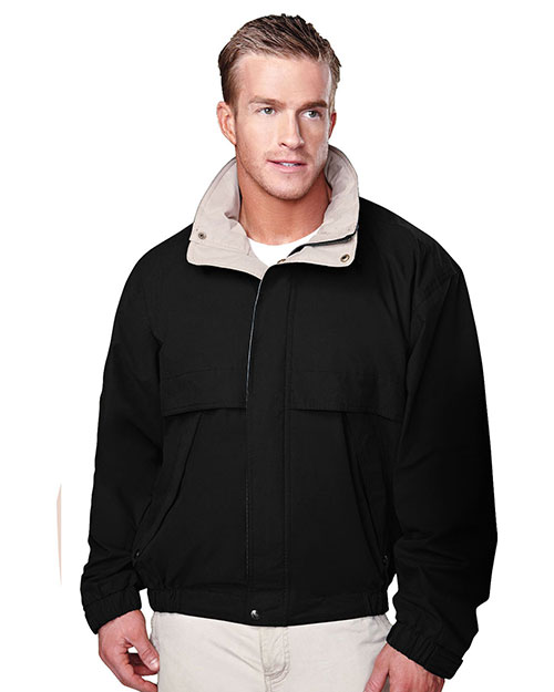 Tri-Mountain 5300 Big and Tall Mens  Cotton/Poly Jacket With Poplin Lining Black/Khaki at bigntallapparel