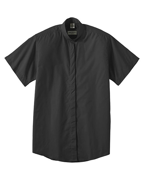 Edwards 5346 WOMEN'S SHORT SLEEVE BANDED COLLAR SHIRT BLACK at bigntallapparel