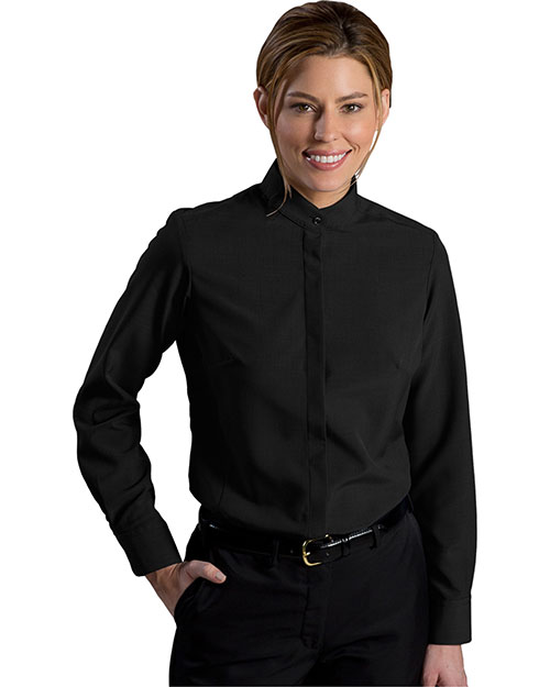 Edwards 5392 WOMEN'S BATISTE BANDED COLLAR SHIRT BLACK at bigntallapparel