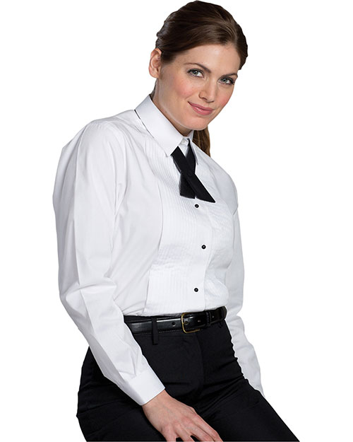 Edwards 5393 Women Tuxedo Shirt 1/4 Pleat White at bigntallapparel