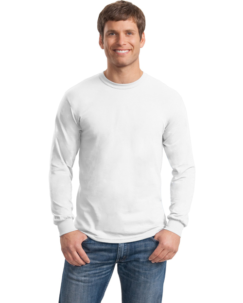 Gildan 5400 Men Heavy Cotton 100%  Long Sleeve Tshirt White at bigntallapparel