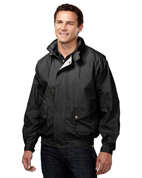Tri-Mountain 5400 Men Cotton/Poly Poplin Jacket With  Lining Black/Khaki at bigntallapparel