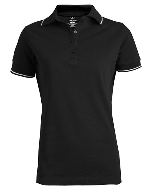 Edwards 5510 Women Tipped Collar/Cuff Blended Pique Polo Black at bigntallapparel