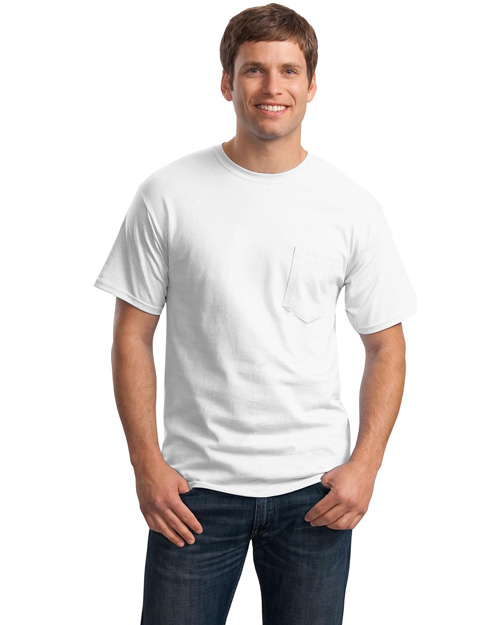 Hanes 5590 Mens Tagless 100% ComfortSoft Cotton T Shirt with Pocket White at bigntallapparel