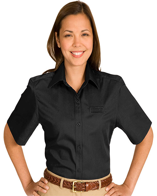 Edwards 5740 WOMEN'S COTTONPLUS SHORT SLEEVE TWILL SHIRT BLACK at bigntallapparel