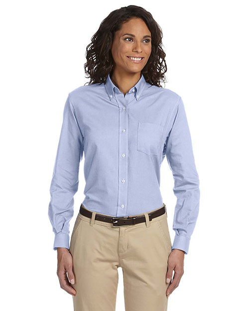 VAN HEUSEN 58800     Ladies' Classic Long-Sleeve Oxford  Blue at bigntallapparel