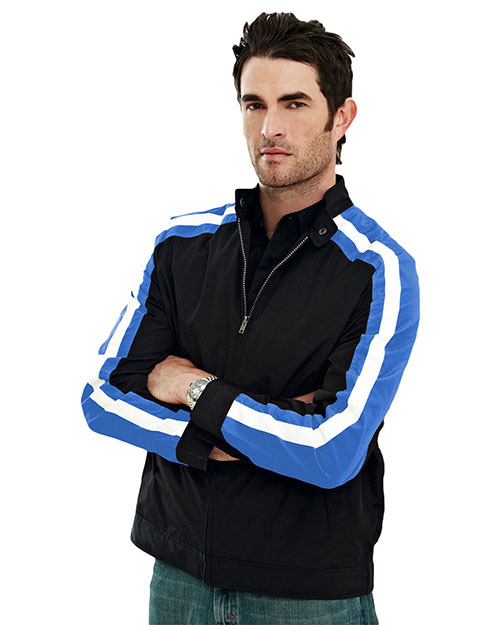 Tri-Mountain 6010 Men's 100% polyester  long sleeve TMR wind jacket with water resistent. BLACK/ROYAL/WHITE at bigntallapparel