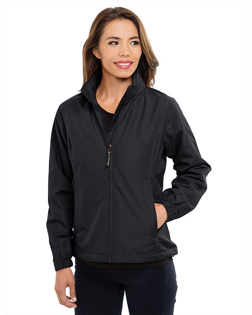 Tri-Mountain 6013 Womens 100% Polyester long sleeve jacket with water resistent BLACK at bigntallapparel