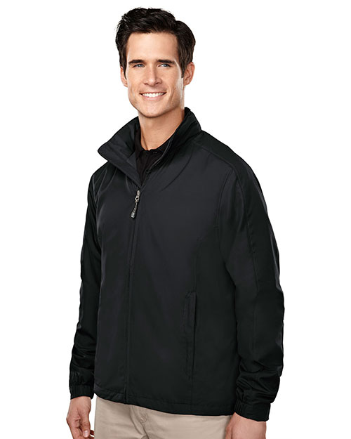 Tri-Mountain 6015 Men 100% Polyester Long Sleeve Jacket With Water Resistent Black at bigntallapparel