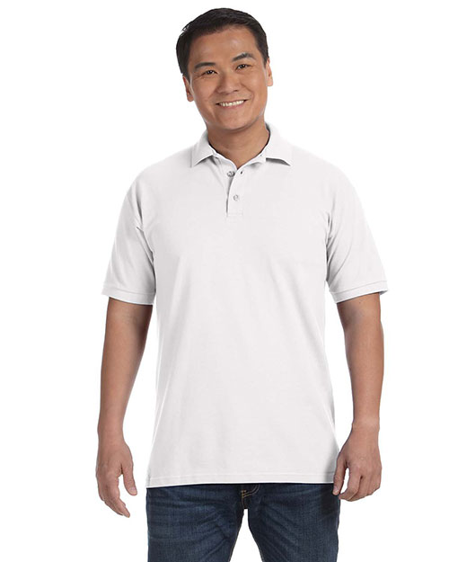 Anvil 6020 Men's 6.5 oz. Piqué Sport Shirt WHITE at bigntallapparel