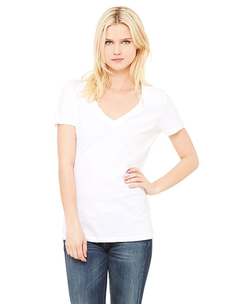 Bella 6035U Ladies' Made in the USA Jersey Short-Sleeve Deep V-Neck T-Shirt WHITE at bigntallapparel