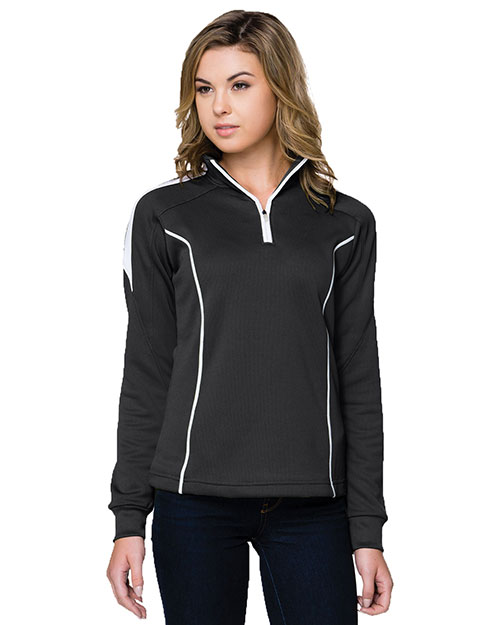 Tri-Mountain 603 Womens 100% Polyester Mesh Textured 1/4 Zipper Pullover. BLACK/WHITE at bigntallapparel