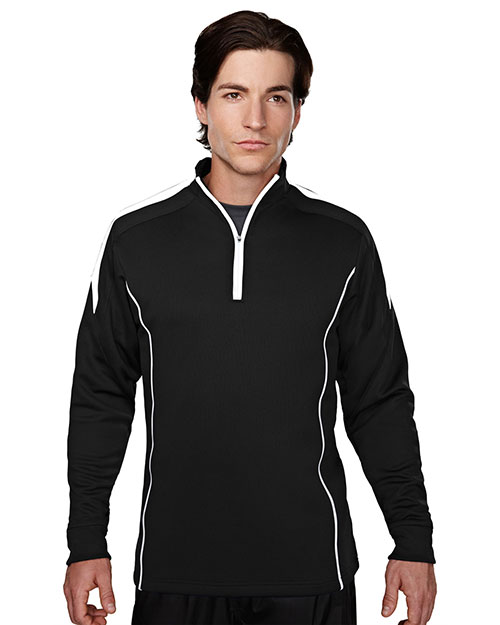 Tri-Mountain 605 Men's 100% Polyester Mesh Textured 1/4 Zipper Pullover. BLACK/WHITE at bigntallapparel