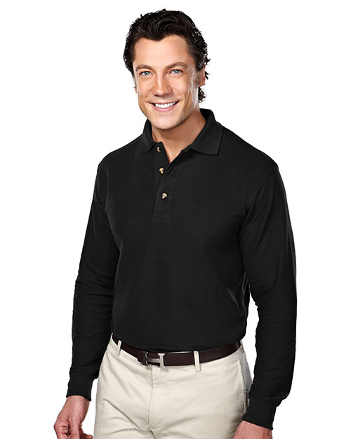 Tri-Mountain 608 Mens Long Sleeve Pique Polo Golf Shirt Black at bigntallapparel