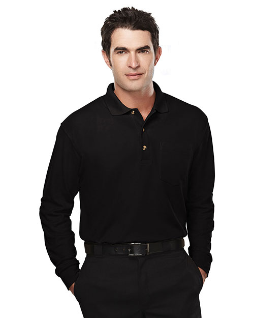 Tri-Mountain 609 Mens Long Sleeve Pique Pocketed Polo Golf Shirt Black at bigntallapparel