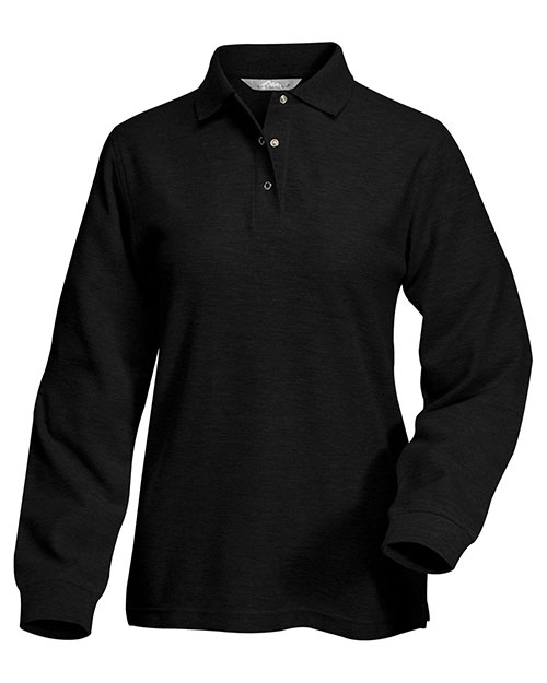 Tri-Mountain 612 Womens 60/40 long sleeve easy care knit shirt with snap closure. Ideal cook shirt. BLACK at bigntallapparel