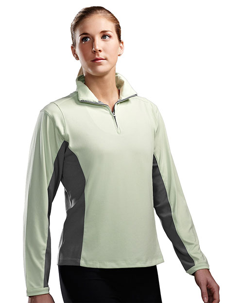 Tri-Mountain 621 Womens Poly UltraCool 1/4 zip pullover shirt APPLE/GRAY at bigntallapparel