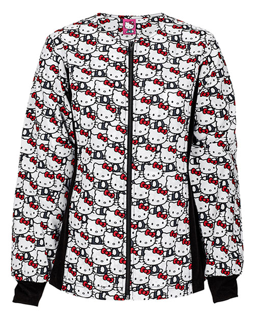 Tooniforms 6315C Women Zip Front Knit Panel Warmup Jacket Hello Kitty Always at bigntallapparel