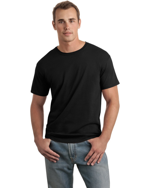 Gildan 64000 Men Soft-Style Ring Spun Cotton T Shirt Black at bigntallapparel