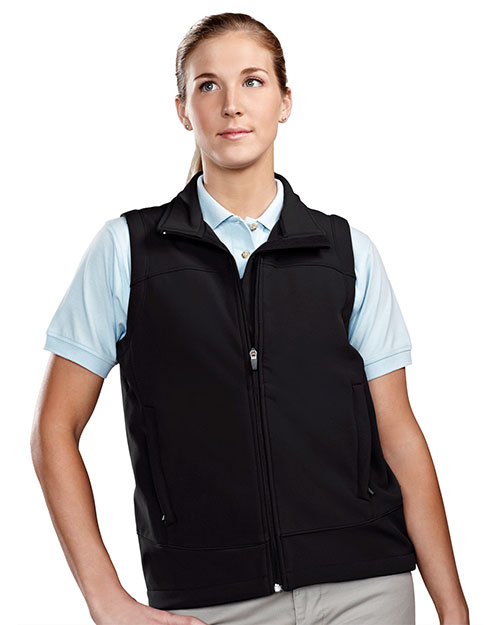 Tri-Mountain 6410 Women Poly Stretch Bonded Soft Shell Vest Black/Black at bigntallapparel