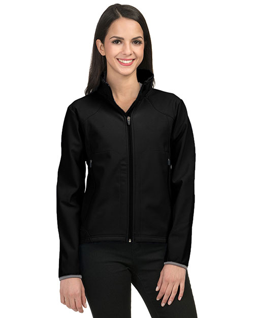Tri-Mountain 6420 Womens poly stretch bonded soft shell jacket. BLACK/DARK GRAY at bigntallapparel