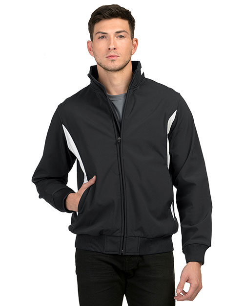 Tri-Mountain 6430 Mens 88% polyester & 12% Spandex bonded stretch woven water resistant Jacket BLACK/WHITE at bigntallapparel