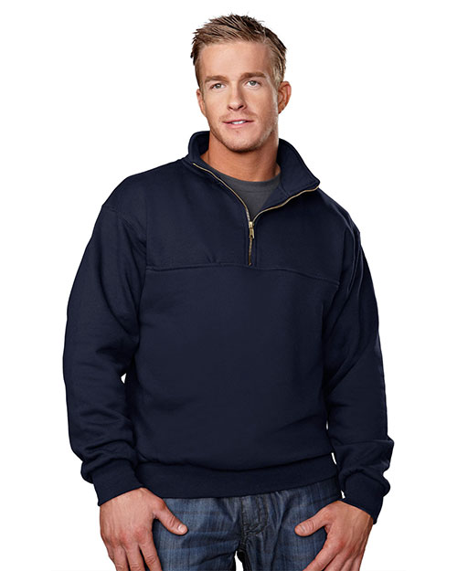 Tri-Mountain 644 Mens Cotton/Poly 1/4 Zip Firefighters Work Shirt NAVY at bigntallapparel