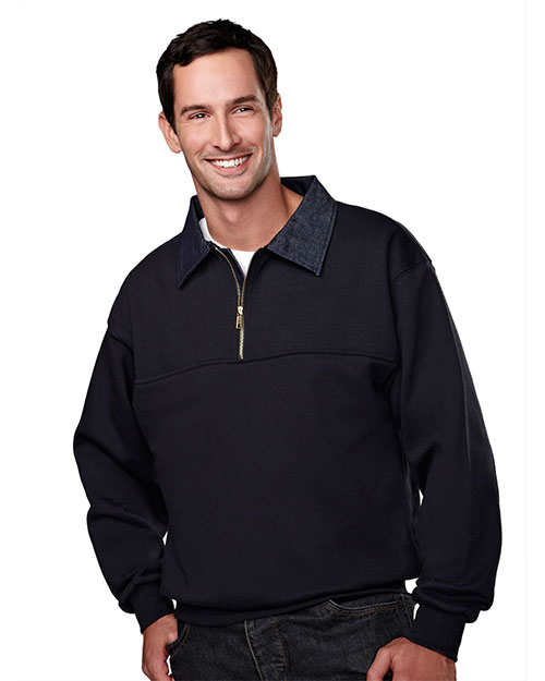 Tri-Mountain 645 Men Cotton/Poly 1/4 Zip Firefighters Work Shirt With Denim Navy at bigntallapparel