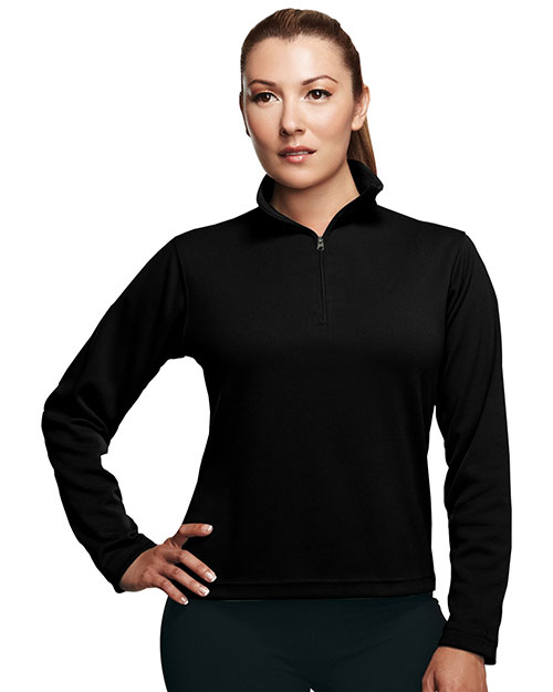 Tri-Mountain 652TM Womens Poly UltraCool pique 1/4 zip pullover shirt. BLACK at bigntallapparel