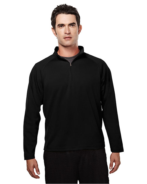 Tri-Mountain 655 Men Ultracool Pique 1/4 Zip Pullover Shirt Black at bigntallapparel