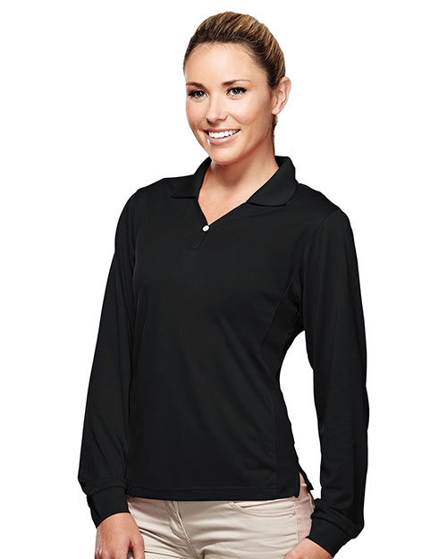 Tri-Mountain 656 Womens Poly UltraCool pique y-neck long sleeve golf shirt. BLACK at bigntallapparel