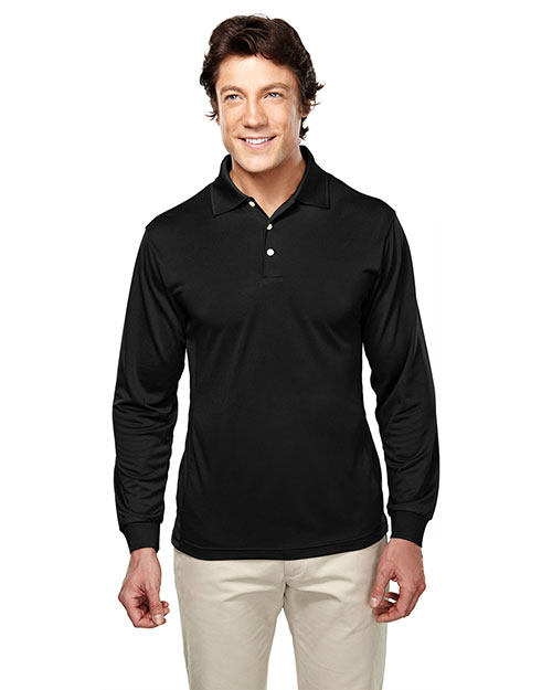 Tri-Mountain 658 Men Poly Ultracool Pique Long Sleeve Golf Shirt Black at bigntallapparel