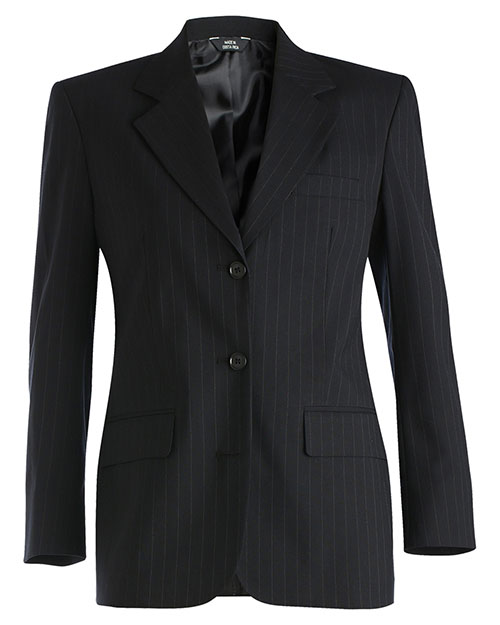 Edwards 6660 Women Pinstripe Wool Blend Suit Coat Navy at bigntallapparel