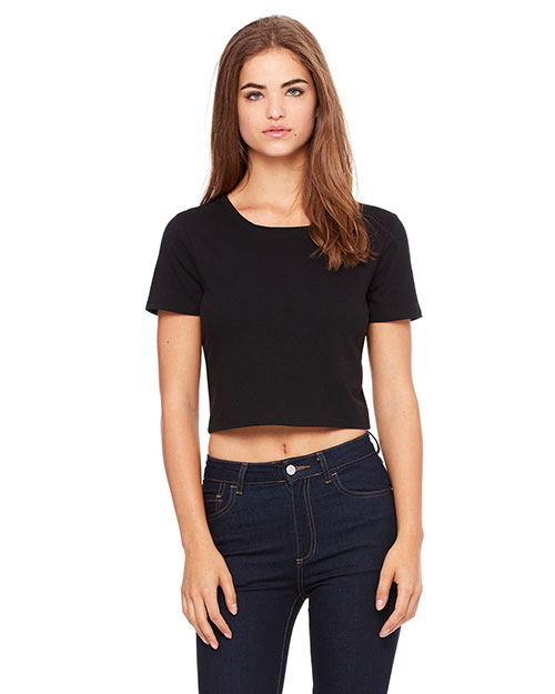 Bella 6681 Ladies' Poly-Cotton Crop T-Shirt BLACK at bigntallapparel