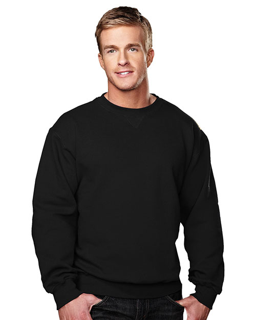 Tri-Mountain 680 Mens Sueded Finish Crewneck SweatShirt Black at bigntallapparel