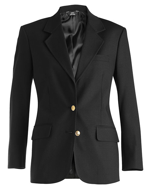 Edwards 6830 Women Hopsack Wool Blend Blazer Black at bigntallapparel