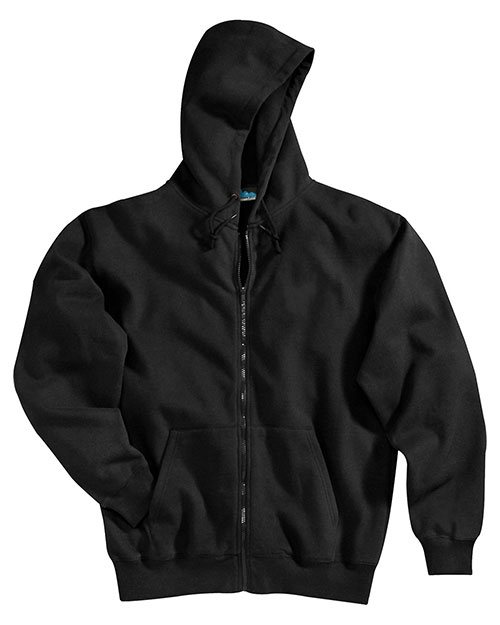 Tri-Mountain 690 Mens Cotton/Poly Sueded Finish Hooded Full Zip SweatShirt BLACK at bigntallapparel